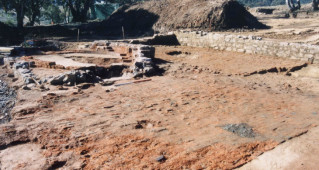 Copper Smelter No. 1, completed in 1861-1862, was excavated in advance of mining in 2002 (scale 1 metre) (Edward Higginbotham, 2002).